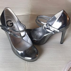 G by Guess Silver Double Strap Heels